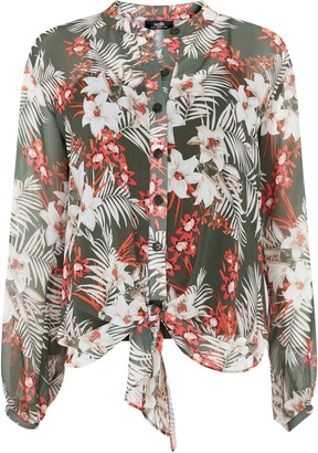 Wallis Khaki Leaf Print Tie Front Shirt