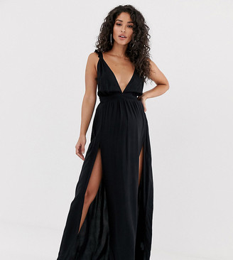 Asos DESIGN Maternity beach maxi dress with frill strap & plunge neck in black