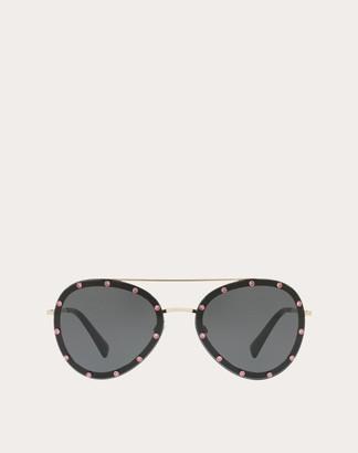 Valentino Crystal Studded Aviator Frame Metal Sunglasses Women Black Metal 100% OneSize