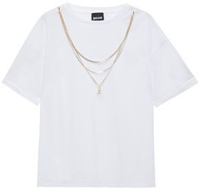 Just Cavalli Chain-trimmed Cotton-jersey T-shirt