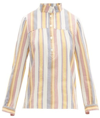 A.P.C. Loula Striped Cotton Crepe Blouse - Womens - Ivory Multi