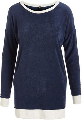 Lee Casa Women's Tee Shirts Blue. - Blue Elbow Patch Long-Sleeve Top - Women
