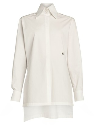 Fendi Embroidered Monogram Cotton Taffeta Shirt