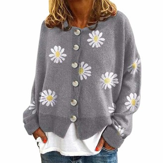 Daiwen Womens Daisy Floral Knit Cardigans Womens Jumper Long Sleeve Open Front Winter Cardigan Single Breasted Button Sweater Grey