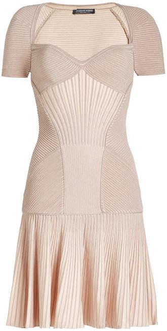 Alexander McQueen Mini Dress with Wool and Metallic Thread