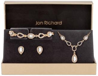 Jon Richard Jewellery Jon Richard Gold Pave Pear Trio Set - Gift Boxed