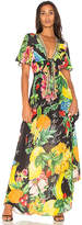 Camilla Tie Front Maxi Dress in Yellow. - size XS (also in )