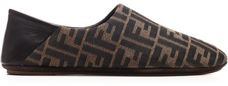 Fendi All Over FF Logo Round-Toe Slippers