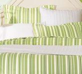 Tonal Stripe Organic Duvet Cover & Sham - Honeydew Green