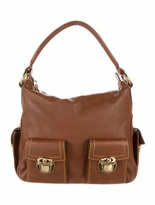 Marc Jacobs Leather Buckle-Accented Satchel Brown