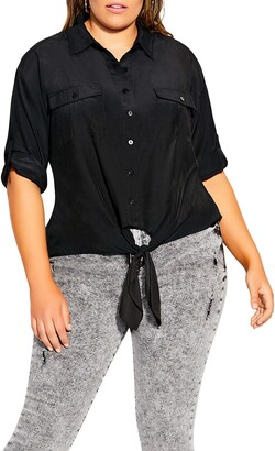 City Chic Knot Front Top