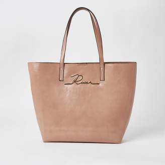 River Island Womens Pink patent 'River' shopper tote bag