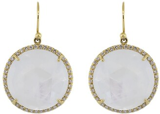 Irene Neuwirth 18kt yellow gold large Classic moonstone and diamond drop earrings