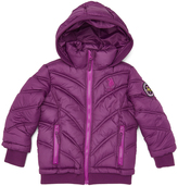 U.S. Polo Assn. Purple Hooded Puffer Jacket - Toddler & Girls