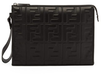 Fendi Ff-embossed Leather Pouch - Black