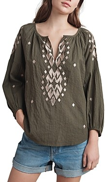 Velvet by Graham & Spencer Klara Embroidered Peasant Blouse