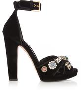 Alexander McQueen Embellished crossover-strap velvet sandals