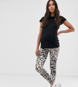 Asos DESIGN Maternity over the bump legging in gray tiger print-Multi
