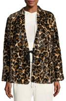 McQ Short Faux-Fur Leopard-Print Coat
