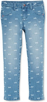 Hello Kitty Little Girls' Printed Bow Denim Jeans