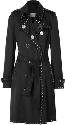 Burberry Stud Detail Silk Satin Trench Coat