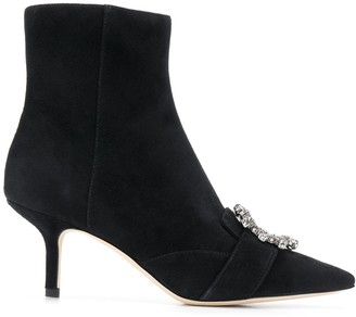 Tory Burch Embellished-Buckle Ankle Boots