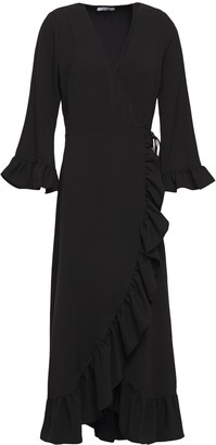 Ganni Ruffle-trimmed Stretch-crepe Midi Wrap Dress