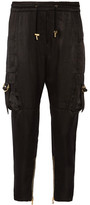 Balmain Cropped Satin Pants - Black