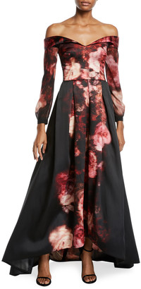 David Meister Off-the-Shoulder Long Rose-Print Gown
