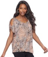 Juicy Couture Women's Print Cold-Shoulder Top