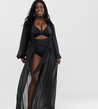 Asos DESIGN Curve recycled long sleeve wrap tie chiffon maxi beach kimono in black