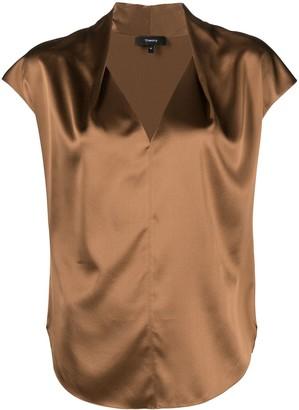 Theory cap-sleeve V-neck blouse
