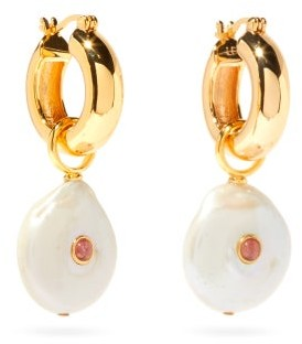 Lizzie Fortunato Circa Pearl & Gold-plated Hoop Earrings - Pearl