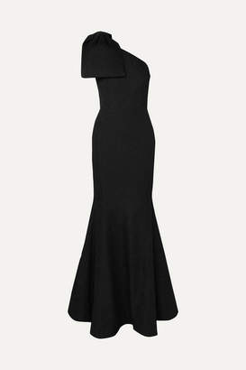Rebecca Vallance Francesca One-shoulder Bow-detailed Cloque Gown - Black