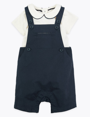 Marks and Spencer 2 Piece Cotton Dungaree Outfit (0 Mths-36 Mths)