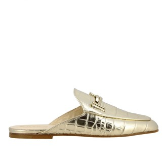 Tod's Sabot In Laminated Leather With Crocodile Print And Double T