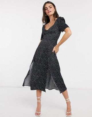 ASOS DESIGN cupped satin maxi dress with splits in black spot print