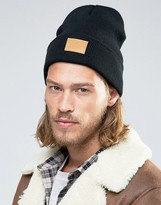Asos Patch Beanie In Black