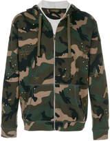 Valentino bug patch camouflage zip hoodie