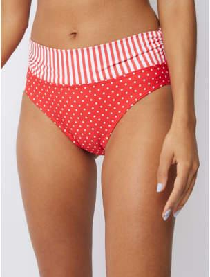 George Red Polka Dot Fold Top High Leg Bikini Bottoms