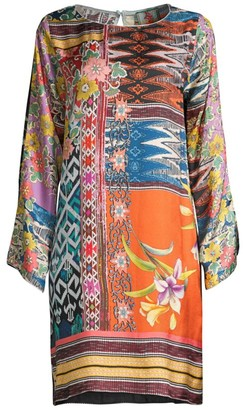 Johnny Was Luna Floral Mix-Print Silk Shift Dress