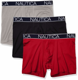 Nautica Men's Brushed Poly 3 Pack Boxer Brief Alloy/Black Red Small