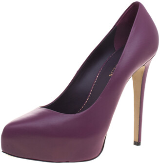 Le Silla Purple Leather Platform Pumps Size 38