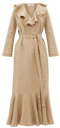 Casa Raki - Esme Ruffled Linen Wrap Dress - Beige