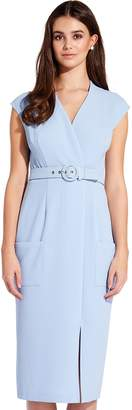 Adrianna Papell Blue Mist Cameron Woven Belted Sheath Dress