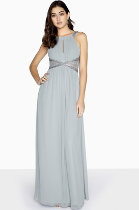 Little Mistress Lauren Lace Insert Maxi Dress With Keyhole