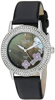 Burgi Women's BUR142SSB Silver Quartz Watch With Black Swarovski Crystal and Diamond Mother of Pearl Dial With Black Leather Strap