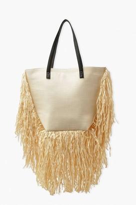 boohoo Extreme Fringe Straw Beach Bag