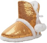 Kensie Girl Girls' Sequin Knit Poms with Bow Slipper Faux Fur Lining /White Size 13/1