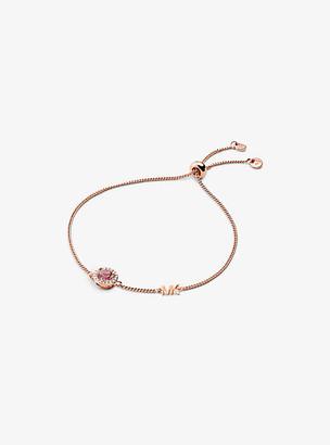 Michael Kors 14K Rose Gold-Plated Sterling Silver Stone Halo Slider Bracelet